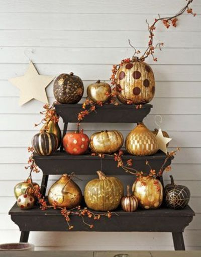 Follow these five steps to create beautiful gilded pumpkins.
