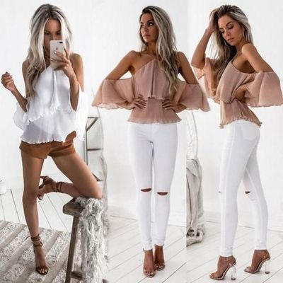 Fashion Women Ladies Summer Loose off Shoulder Blouse Shirts Pink White Casual Halter Ruffles Blouse Tops Clothes $21.67