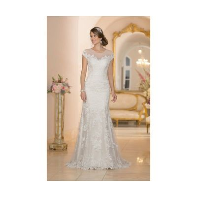 Exquisite Sheath/Column Straps Beading&Sequins Buttons Lace Sweep/Brush Train Tulle Wedding Dresses - Dressesular.com