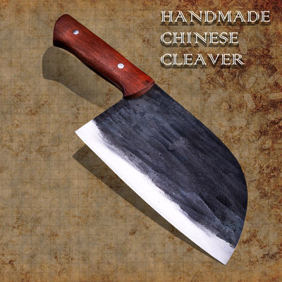 Handmade Chinese Cleaver Carbon Forged Steel Chef Knife Canvas Sheath Kitchen Knives $97.30