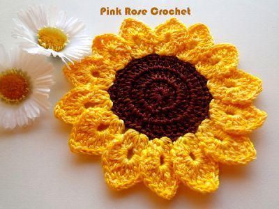 PINK ROSE CROCHET /: Girassol Pega Panelas Sunflower Pot Holders