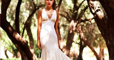 Amanda Wakeley silk georgette paneled wedding dress with micro sequined waist detail. AW134. #bridal