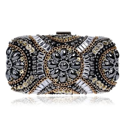 LUXURY GEM Diamond Flower Crystal Evening Bag Clutch