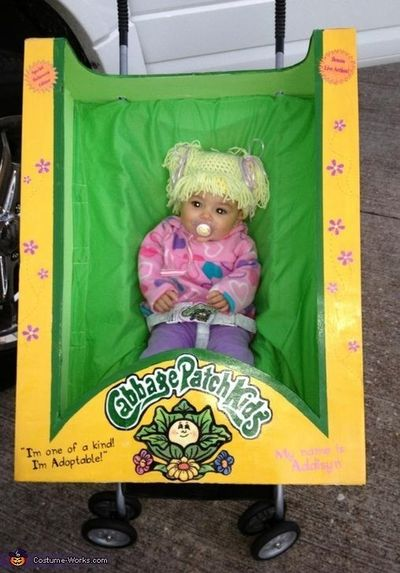 Debbie: This is my granddaughter Addisyn. My daughter in law saw a picture of a crocheted wig for a cabbage patch doll and this costume came from that. I create
