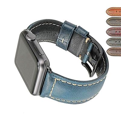 42mm 38mm 44mm 40mm Oil Waxed Leather Watchband For Apple Series 1 2 3 4 $29.99