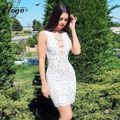 Sexy Open Back Asymmetrical Fringe Hollow Out Trail Dress Summer Lace Dress - Bonny YZOZO Boutique Store