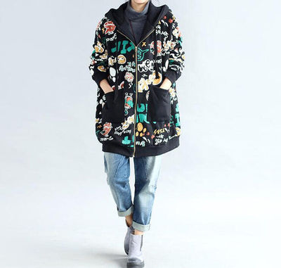 Loose cotton Plus velvet coat Winter hooded loose fitting coat