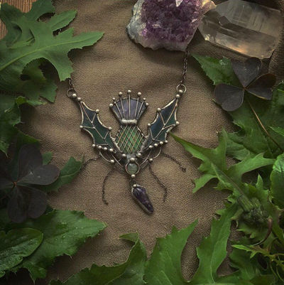 Stain Glass Thistle Necklace, Birthday Gift, Scottish Thistle, Flower of Scotland, Thistle Witchcraft Pendant, Druid Jewelry $89.00