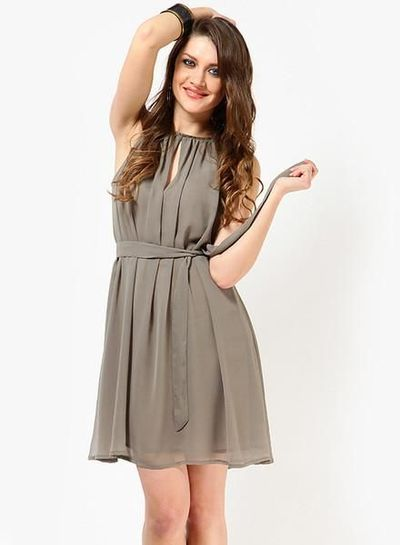 Tops And Tunics Grey Colored Solid Skater Dress �'�1319.45