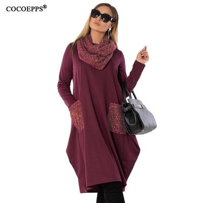 COCOEPPS 5XL 6XL Winter Loose women Dress big sizes Casual Long Sleeve Dress new 2018 Plus Size Women Clothing blue Vestidos $15.98