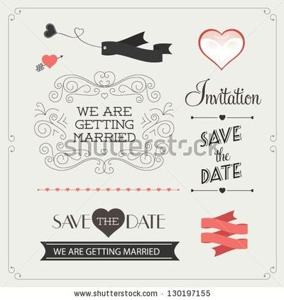 stock vector : Set of wedding ornaments and decorative elements, vintage banner, ribbon, labels, frames, badge, stickers. Vector love element.