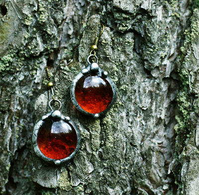 Two drops of honey in amber Red earrings. With Stainless Steel Earring Hooks - Hypoallergenic! $10.00