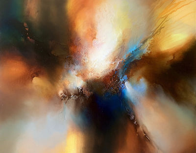 Cursed Skies - abstract expressionist original mixed media painting on large canvas by Simon Kenny $8300.00