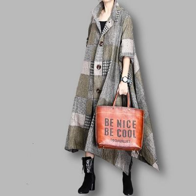 Gray-green plaid cloak woolen coat, Women's winter Coat, midi Coat, Wool cape, Women overcoat, Wool overcoat