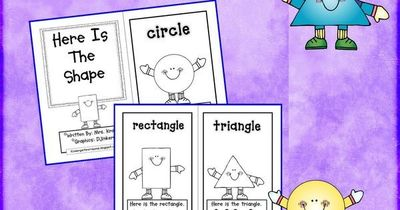 Kindergarten Crayons: shape book - using sight words: here, the, is.