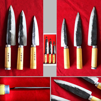 3 pcs Hand Forged Kitchen Knife Set Chef Slicing Utility Knives BBQ Tools Eco Friendly $53.80