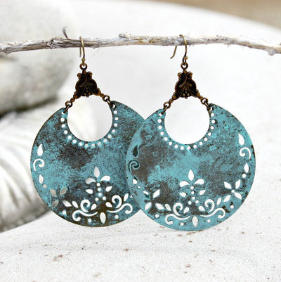 Chandelier Earrings - Bohemian, Patina, Large, Bold, Blue, Dangle, Crescent, Blue, Antique Brass, Gift for Her, Boho Chic, Lightweight