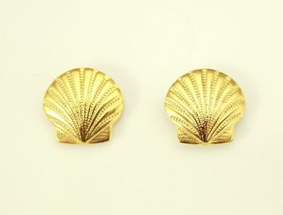 14 mm Scallop Shell Gold or Nickle Plated Magnetic Earrings $30.00 Designed by LauraWilson.com