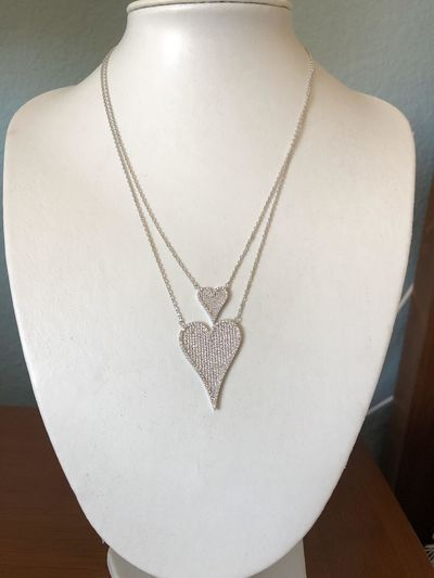 Modern French Pave Double Diamond Heart Necklace $72.00