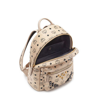 MCM Small Stark M Odeon Studded Backpack In Beige