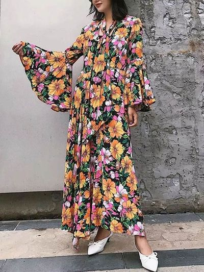 Flared Sleeves Floral Maxi Dress $49.00
