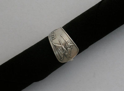 Salem Witch sterling silver souvenir ring hand made from D Low sterling spoon size 6