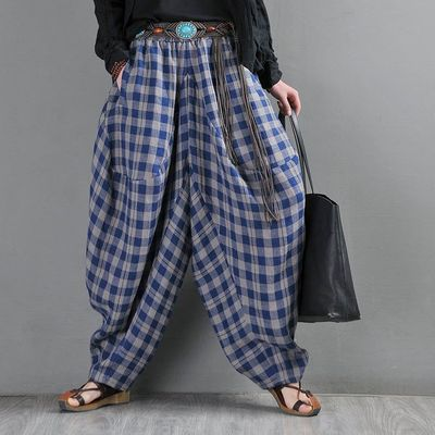 Linen harem pants, Blue plaid plaid bloomers, yarn-dyed linen big crotch pants, Drop crotch Pants, Elephant pants, Kappa pants, Lerp pants