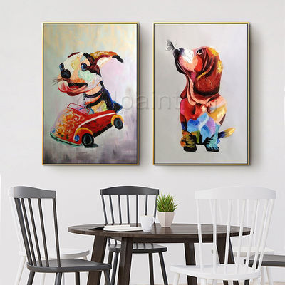 Set of 2 wall art animal painting dog portrait acrylic paintings On Canvas palette knife Original framed Wall art Wall pictures $159.00