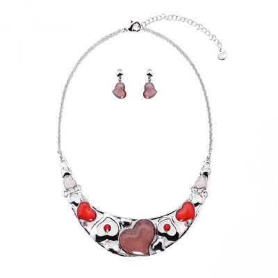 Enthralling Red Heart Necklace Set - Silver/Red