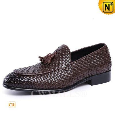 Custom Father's Day Gift | CWMALLS® Stockholm Woven Leather Tassel Loafers CW708118