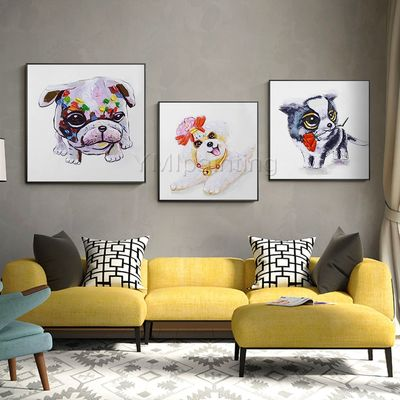 Set of 3 wall art puppy Dog Pet Portrait framed Wall art Pop Art animal art palette knife Acrylic paintings On Canvas Original painting $239.00