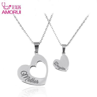 Fashion Heart Necklaces Jewelry Stainless Steel Mother and Daughter Splicing Double Heart Pendant Chain Necklace Women Bijoux $30.63