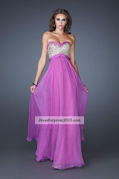 Strapless Purple Top A Line Sequine Long Prom Dresses on Sale
