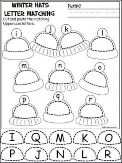Free winter uppercase and lowercase letters cut and paste activity ...