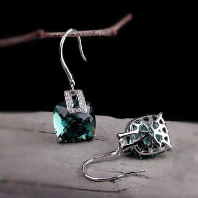 925 Silver Inlaid Crystal Earrings / Crystal Fashion Earrings / Green Crystal Earrings / Blue Sandstone Earrings/Dangle & Drop Earrings
