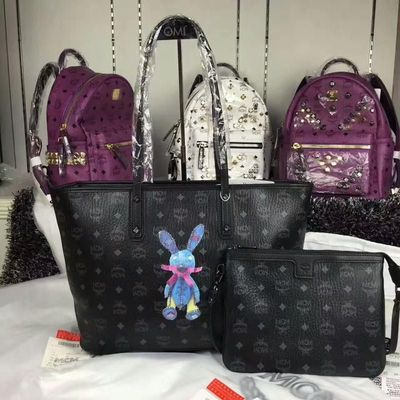 MCM Medium Rabbit Visetos Shoulder Tote In Black