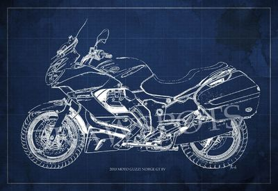 2010 Moto Guzzi Norge GT 8V Blueprint,Art Print larger sizes, Motorcycle Art print,Original Drawing for men cave, digital art $35.00