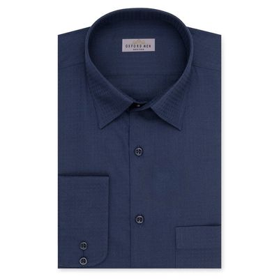 Create a stylish look with this Oxford Men Navy Blue Check shirt. Woven in Egyptian cotton. this check shirt has a fine finish.  • 100% Egytptain Cotton  • Classic collar  • French cuff  • Oxford Men  â€...