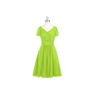 Lime green Azazie Hadley - Chiffon Knee Length V Neck Back Zip Dress - Charming Bridesmaids Store
