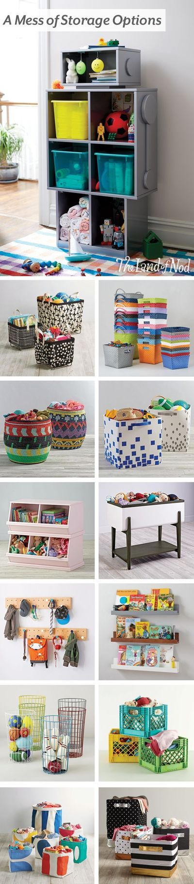 Dive into spring cleaning with the help of The Land of Nod's storage picks. Roomy bins and baskets can hold all of your kid's favorite toys and books. Plus, they look at home in the playroom, bedroom or even the living room.