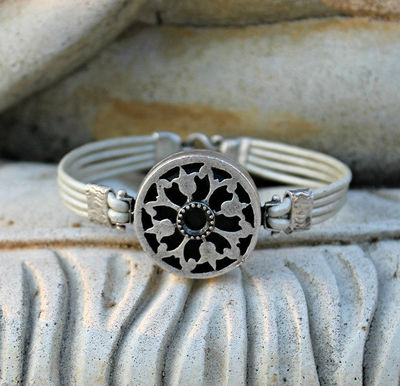 Bohemian Leather Bracelet, Silver, Pearlescent White, Black, Gemstone, Ornate Filigree, Gift for Her, Women's Bohemian Jewelry, Rustic,