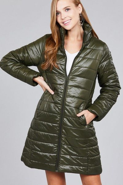 Long sleeve quilted long padding jacket $48.00 (20% ...