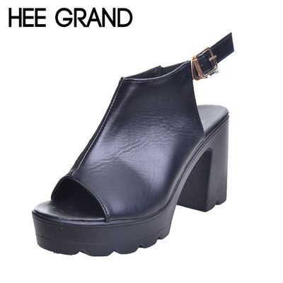 HEE GRAND Women Sandals 2017 Platform Wedge Peep Toe PU Leather High Heel Summer Style Buckle Shoes Woman Size 39 XWZ4082 £30.60