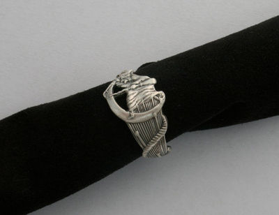 Flying Salem Witch crescent moon sterling silver souvenir ring hand made from sterling spoon size 8