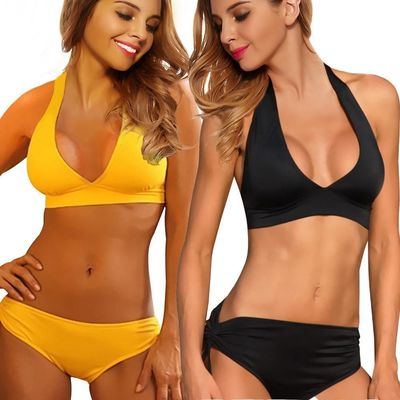 Bikini Swimwear Strappy Bra Top Brazilian Bottom Black/Yellow kr19.00