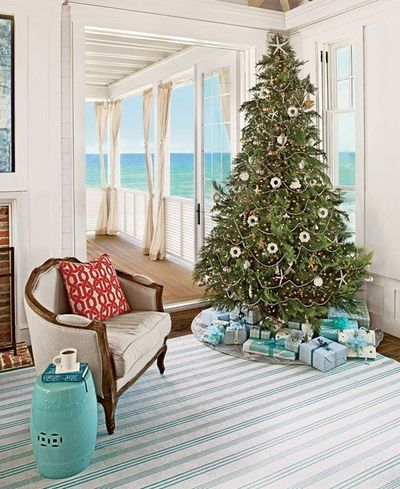 a beach inspired christmas tree chic coastal living family style beach house - Beach Themed Christmas Trees