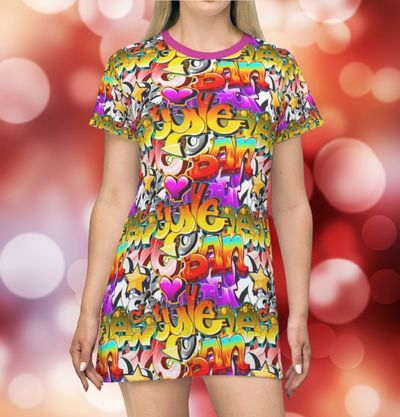 Graffiti Pop T Shirt Festival Dress Moisture Wicking Strong Elastic Fabric Vibrant Best Quality Pigment Inks Sizes XS - 2XL $24.99 https://www.etsy.com/shop/LAFabriKDesigns?ref=ss profile