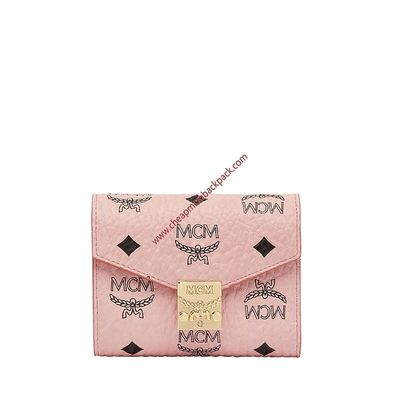 MCM SMALL PATRICIA VISETOS TRIFOLD WALLET IN LIGHT PINK