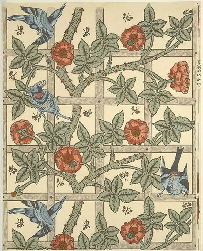 "'�'��""Trellis'�'� wallpaper designed by William Morris 1862 and first produced in 1864. Via Wikimedia Commons"