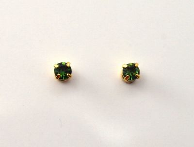 3 mm Round Swarovski Green Tourmaline Crystal Magnetic Earrings $21.00 Designed by LauraWilson.com